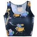 sexy schoolgirl summer club croppe tops cute adventure time printed crop top camis  women 03161016