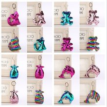 New 44 Colors Sequins Keychain Cat Pig Christmas Tree Bling Key Chain  Keyring Car Bags Pendants Jewelry Accessories Gifts 095595235a5c