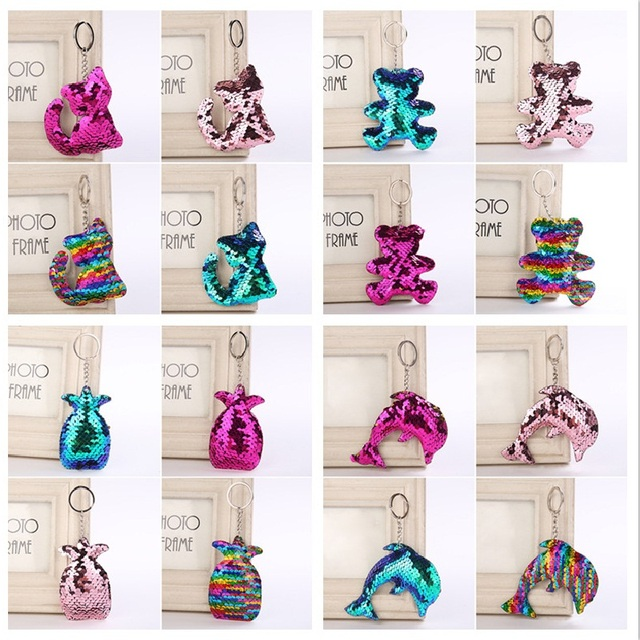 b39d2b7edcbb New 44 Colors Sequins Keychain Cat Pig Christmas Tree Bling Key Chain  Keyring Car Bags Pendants Jewelry Accessories Gifts