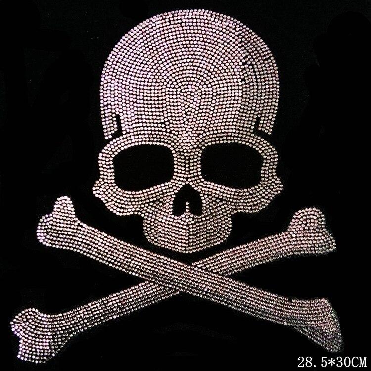 Clear Crystal skull necklace Tshirt neckline DIY strass hotfix Rhinestone  applique Pattern motif Iron On Heat transfer Designs f7c4a61d3ac2