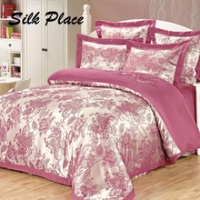 SILK PLACE 2017 New Fashion Brand Satin Bedding Set Russian Supply Designer Cotton Bed Comfortable Sheet Jacquard Full Coverlets