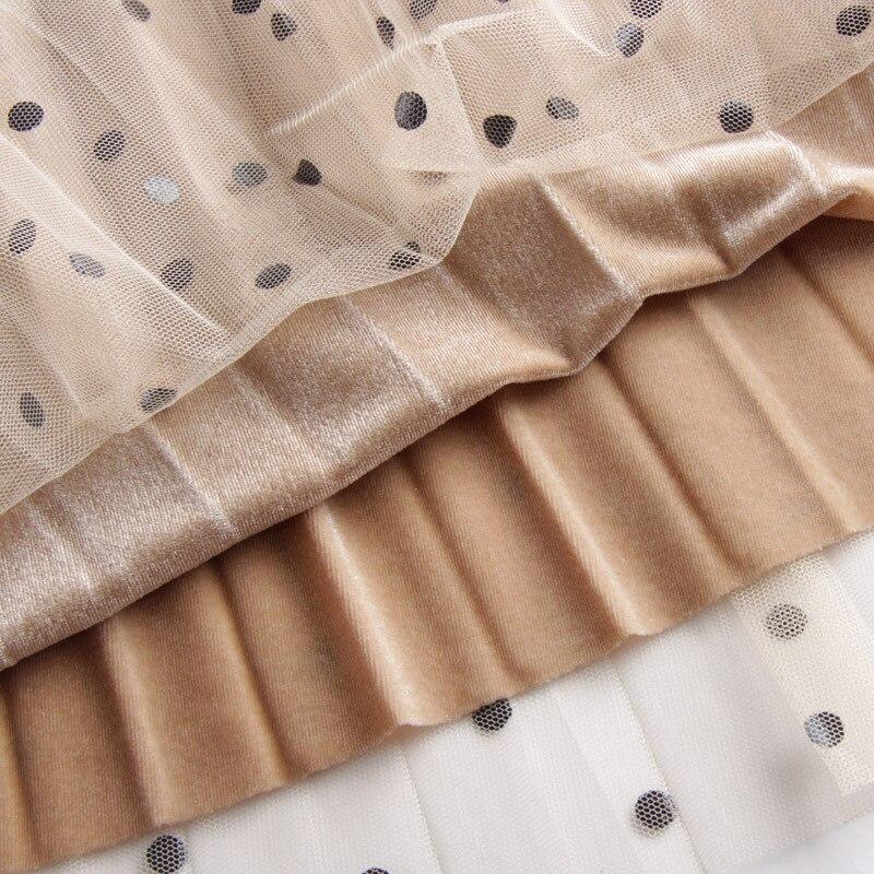 Surmiitro Polka Dot Reversible Velvet Midi Skirt Womens 2019 Autumn Winter Korean High Waist Long A-line Pleated Skirt Female