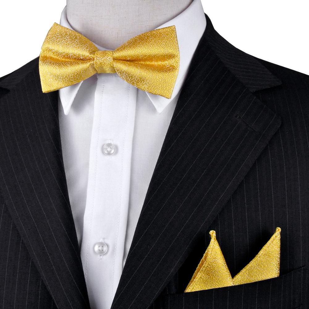 Doprava zdarma pevné žluté zlato pánské motýlek sada smokingu předem vázané 100% hedvábí kapesník nastavitelný velkoobchod příležitostná strana