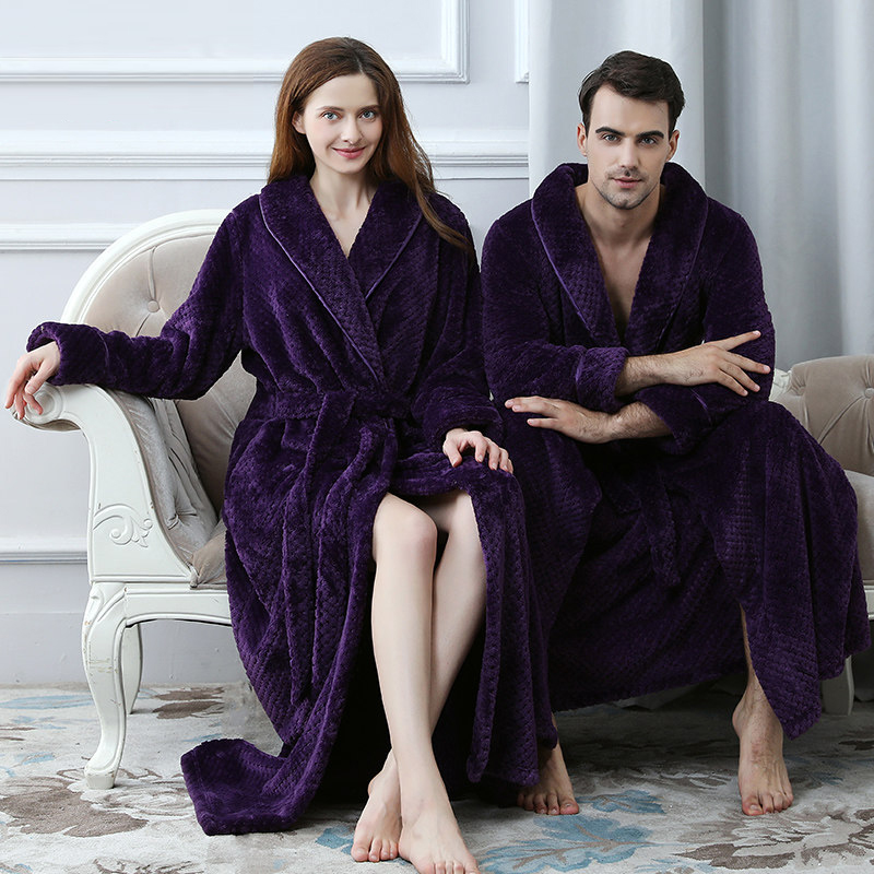 Men Extra Long Thermal Waffle Coral Fleece Bathrobe Winter Thick Flannel Warm Bath Robe Lovers Dressing Gown Male Kimono Robes