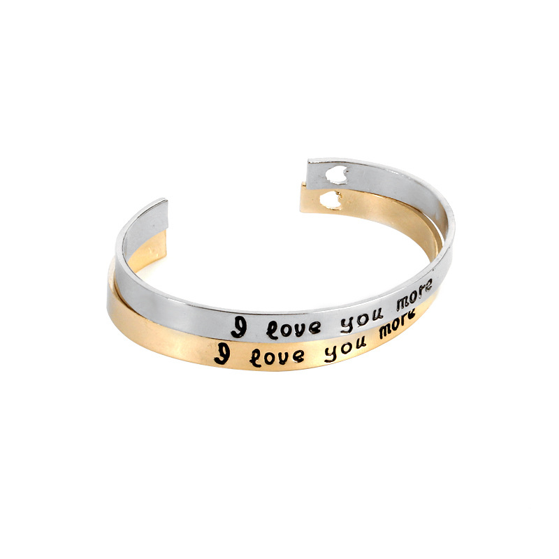 I love you more Bracelets women Simple Round Bangles gold silver plated heart Bracelet femme gift for lovers couple girlfriend