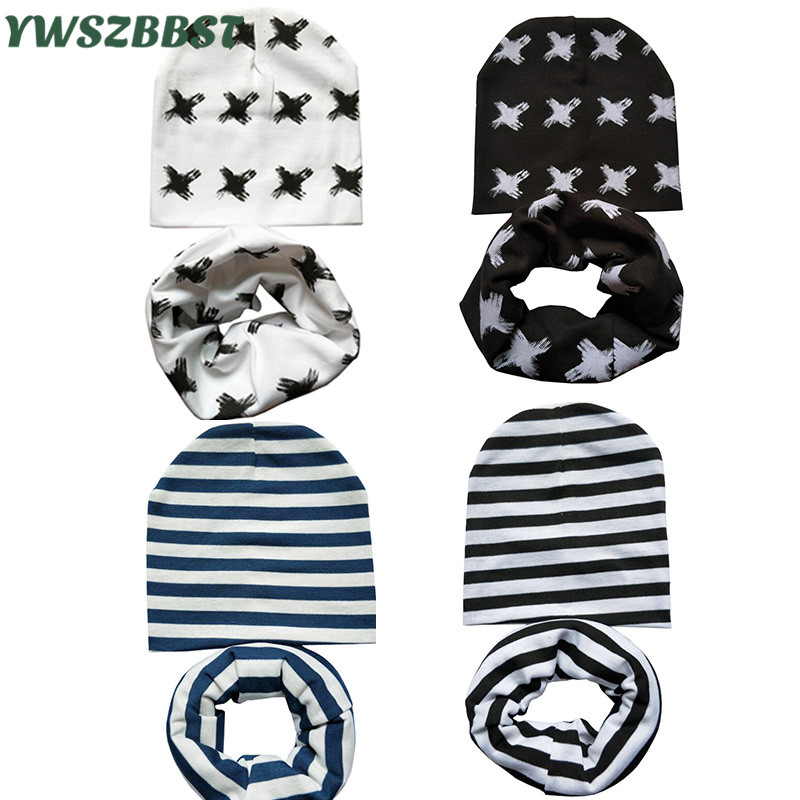 Wholesale 10set/lot Baby Hat Scarf Baby Cap Sets Children Cotton Scarf-Collar Cute Baby Beanies Boys Girls Kids Infant Hat