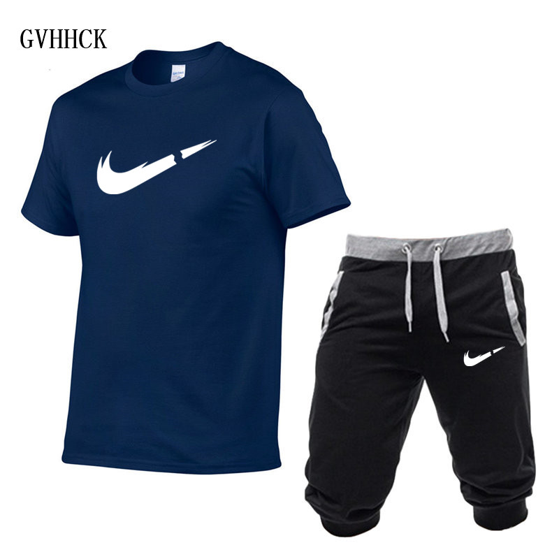 HTB13wJKPCzqK1RjSZPcq6zTepXaV Summer New Tracksuit Men Shorts Casual Men's Sportswear Suit Shorts Brand Clothing Two Pieces Top Tee+Shorts Sweat Suits 2019