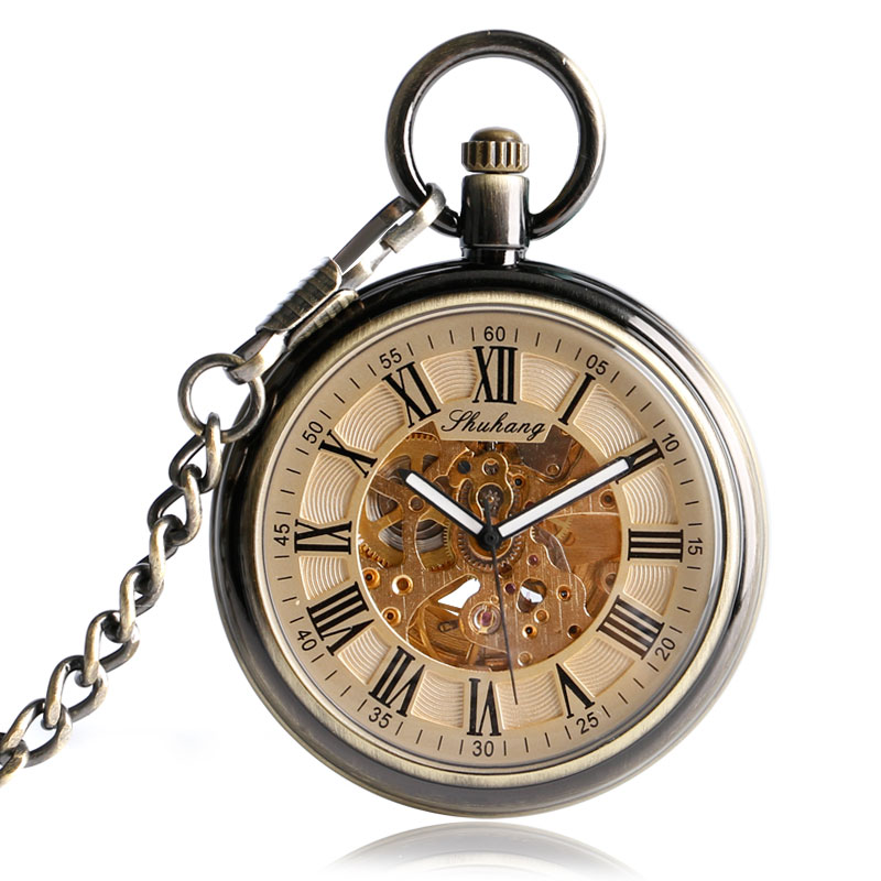 Exquisite Bronze Self Winding Open Face Automatic Mechanical Pocket Watch Chain Vintage Steampunk Transparent Skeleton Gift Hour roman numerals steampunk self wind carving pocket watch skeleton exquisite automatic mechanical bronze pendant gift for nurse