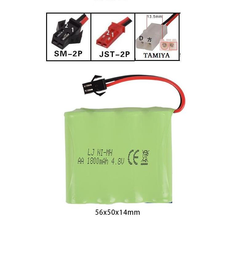 LEKYLUKY 4.8v 1800mah M-style High capacity AA NI-MH rechargeble Battery for electric toys RC toys size 56*50*14mm