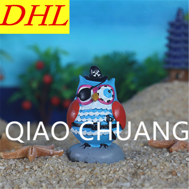 Wholesale 200pcs/lot Animal Owl Pirate Statue Colophony Crafts Psychological Sand Table Accessories G1437