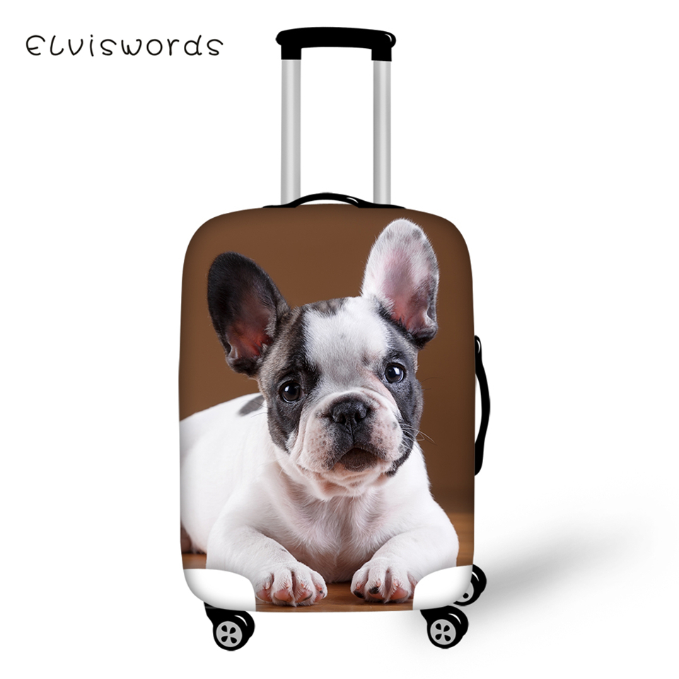 ELVISWORDS Protective Suitcase Cover Little Bulldogs Elastic Dustproof Luggage Kawaii Animal Waterproof Accessorie