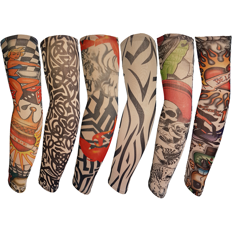 Men's Accessories Men's Arm Warmers 1pc Skin Proteive Nylon Stretchy Fake Temporary Tattoo Sleeves Arm Stockings Design Body Cool Men Unisex Fashion Arm Warmer