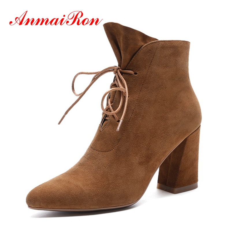 AnmaiRon botines mujer 2018 women pointed toe solid lace up ankle boots lady high heel boots Big size 34-40 ZYL1240AnmaiRon botines mujer 2018 women pointed toe solid lace up ankle boots lady high heel boots Big size 34-40 ZYL1240