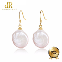 DR Brand Hot Selling 925 Sterling Silver Earrings for Women High Quality Baroque Pearl Jewelry Big Size Pearl S925 Drop Earring