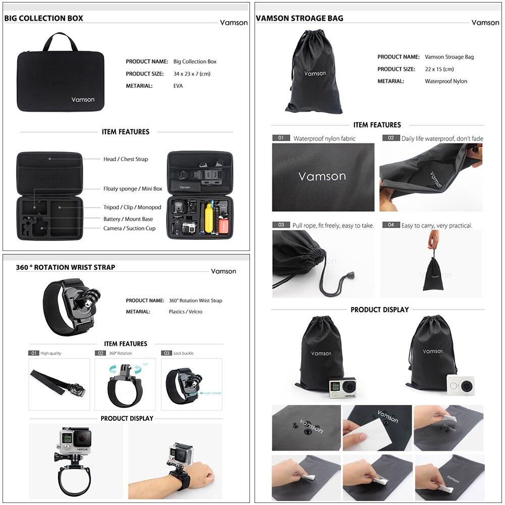 Image 4 - Vamson for Gopro 7 Accessories kit for xiaom yi 4k for gopro hero 7 6 5 4 3 kit mount for SJCAM SJ4000 / eken h9 tripod VS56-in Sports Camcorder Cases from Consumer Electronics