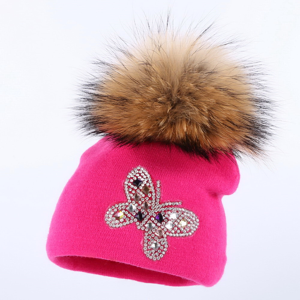 new fashion baby beauty skullies mink pompom children winter hats character butterfly design cotton casual girl boy beanie gorro skullies