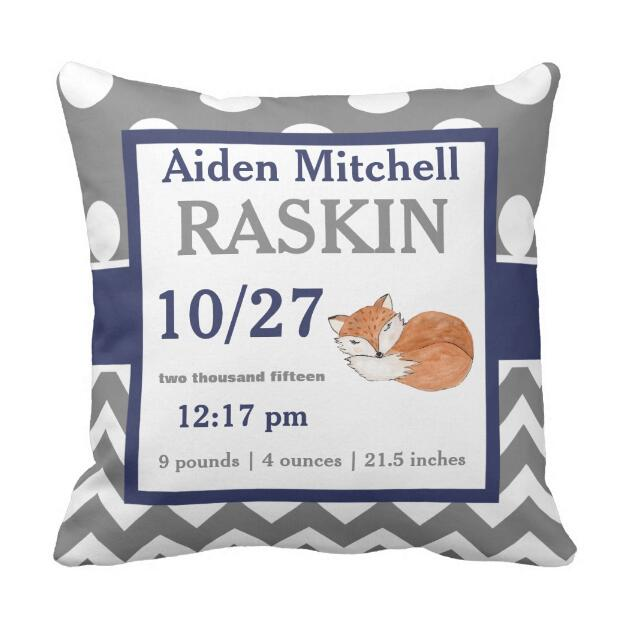 Gray Navy Personalized Fox Baby Announcement Pillow Case Birth Stats