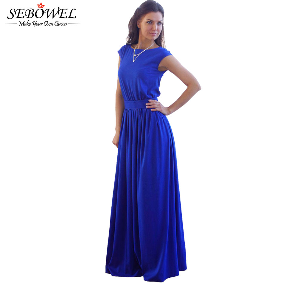 2017 Tightening Belt High Quality Royal Blue Pleated Women Long Party Dress Evening Elegant Sleeveless Summer