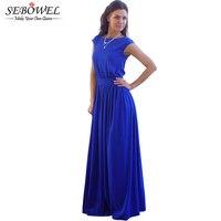 2016 Tightening Belt High Quality Royal Blue Pleated Women Long Dress Party Evening Elegant Sleeveless Summer
