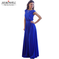 2016 Tightening Belt High Quality Royal Blue Pleated Women Long Dress Party Evening Elegant Sleeveless Summer
