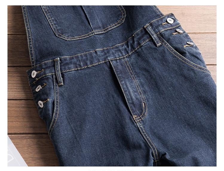 Men Denim Bib Jumpsuit Hip Hop Slim Fit Casual Jean Pants Dark Blue Streetwear Male Suspenders Jumpsuit Size S-2XL (7)