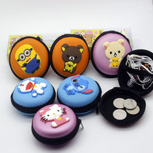 1x Round Macaron Cartoon Nylon Hello Kitty  minion stitch Earphone Headphone Storage Hard Case Pocket Carrying Zipper Bag Holder