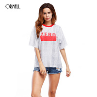 ORMELL 2017 Summer Letter Print T Shirt For Women New Round Neck Short Sleeve Sequin Solid