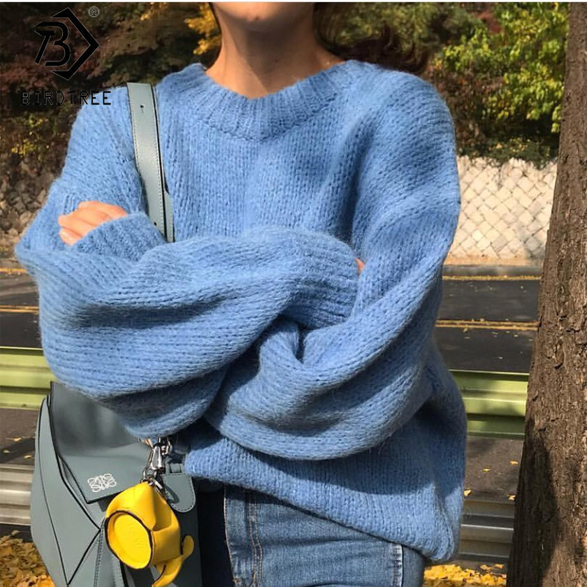 2018 New Fashion Ladies Autumn Full Sleeve Women Knitting Sweater Solid Casual O-Neck Pullover Loose Sweater Hot Sale S89730Q