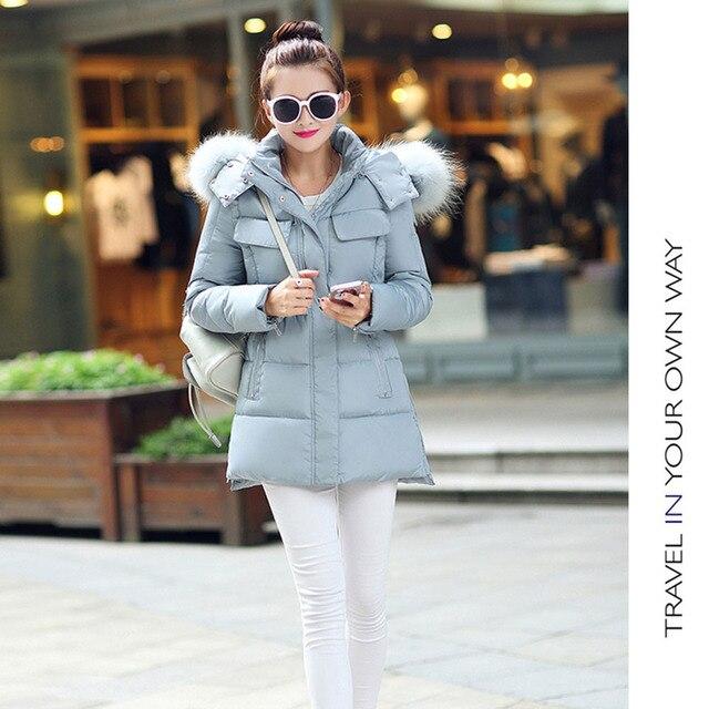 Luxurious Big Raccoon Fur Collar Hooded Slim Thick Down Parka Warm Cotton Jacket