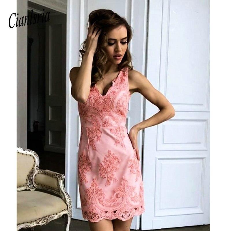 2019 Lace Sex Cooktail Dresses Pink Sheath Homecoming Dresses V Neck