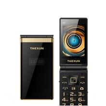 Tanie z klapką na telefon komórkowy TKEXUN M2 3.0 Cal z ekranem dotykowym czterozakresowy GSM kobieta telefon luksusowy Quick dial rosyjska klawiatura telefon komórkowy