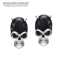 Neoglory 14k Gold Plated Red Zircon Skull Stud Earrings For Women Men Hallowmas Present 2013 New