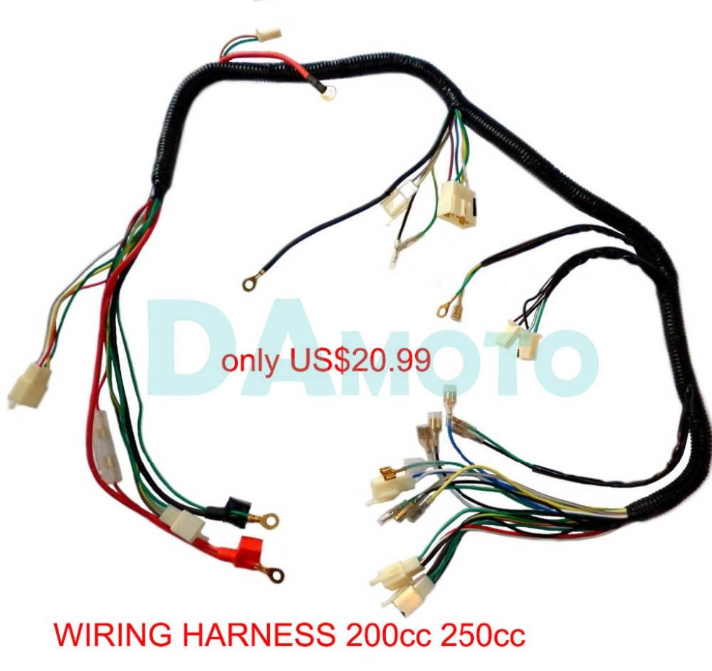 hight resolution of quad wiring harness 200 250cc chinese electric start loncin zongshen ducar lifan free shipping