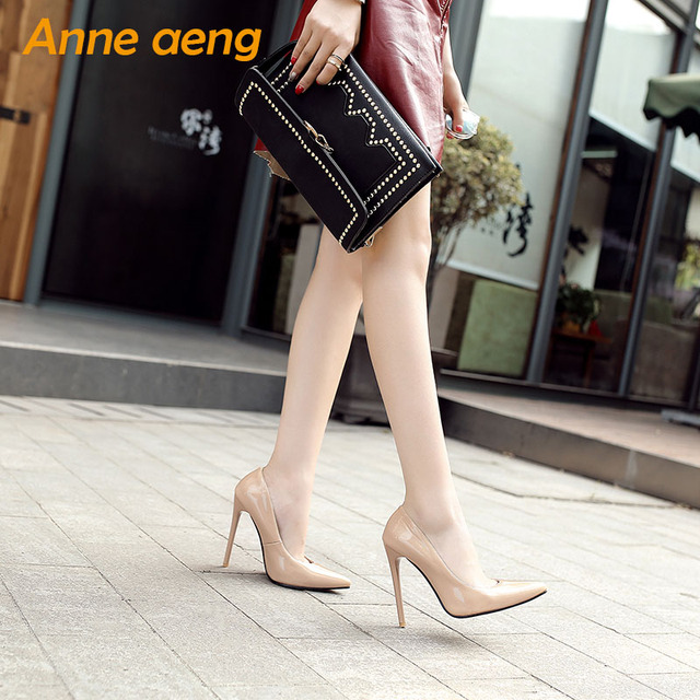 12cm High thin Heels Women Pumps Pointed Toe Shallow Bridal Wedding Shoes Sexy Ladies Women Shoes Nude High Heels Big Size 34-46 4