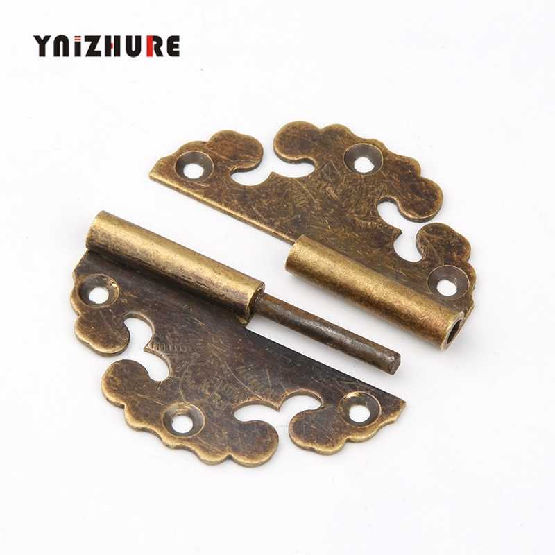 Brass Bat Flower Hinge Decor Cloud Hinges Wooden Gift Jewelry Box Hinge Fittings for Furniture Hardware+Screw,1PC