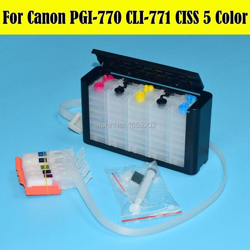 5 Color/Set PGI-770 PGI-771 Ciss System For Canon PIXMA MG5770 MG6870 Printer Cartridge With ARC Chip