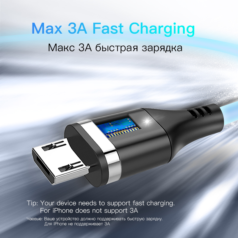 ACCEZZ Magnetic Usb Charging Sync Data Cable Micro USB Charger Cables For Android phone Redmi Note 4 Samsung S7 S6 S5 LG Huawei in Mobile Phone Cables from Cellphones Telecommunications