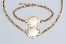 Ожерелье, браслет, серьги из нержавеющей стали ювелирные изделия подарки для женщин JN83 оптовые dropshipping серебро золото тон