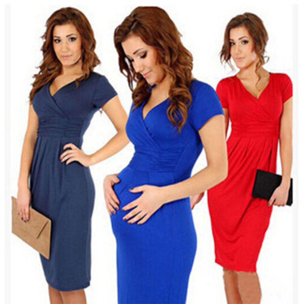 Modern dress casual - Modern 3 Colors Women Ladies Pregnant Maternity Short Sleeve Casual Dress Sheath Cotton Summer Clothes Free