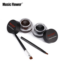2pcs/lot Brown + Black Music Flower Eyestudio Gel Eyeliner Kit Water-proof Smudge-proof Eye Liner 24H Long Lasting