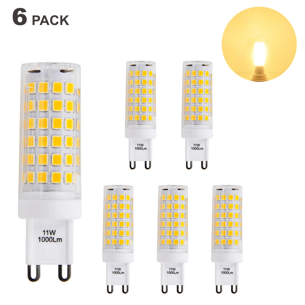 Яркие G9 GU9 светодиодный Capsule лампочки 11 Вт 1000Lm небольшой кукурузы лампы теплый белый 3000 К AC110-120V яркий G9 галогенные освещения ...