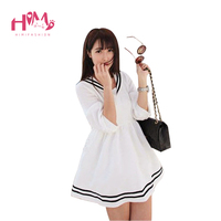 Corée Mignon Marine Sailor Robe Blanc Cosplay Étudiant Robe Pour L'été Naturel Couleur Casual Mini Robe Courte Lady Spreepicky Magasin
