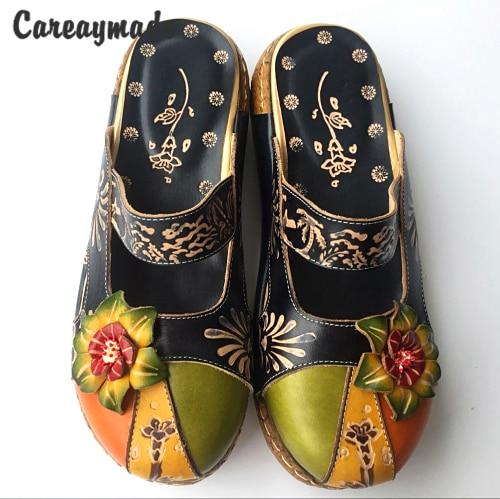 Careaymade nuevo estilo popular capa de cabeza de cuero de vaca zapatos tallados hechos a mano, los zapatos de chica mori de arte retro, sandalias informales para mujer-in Zapatillas from zapatos    1