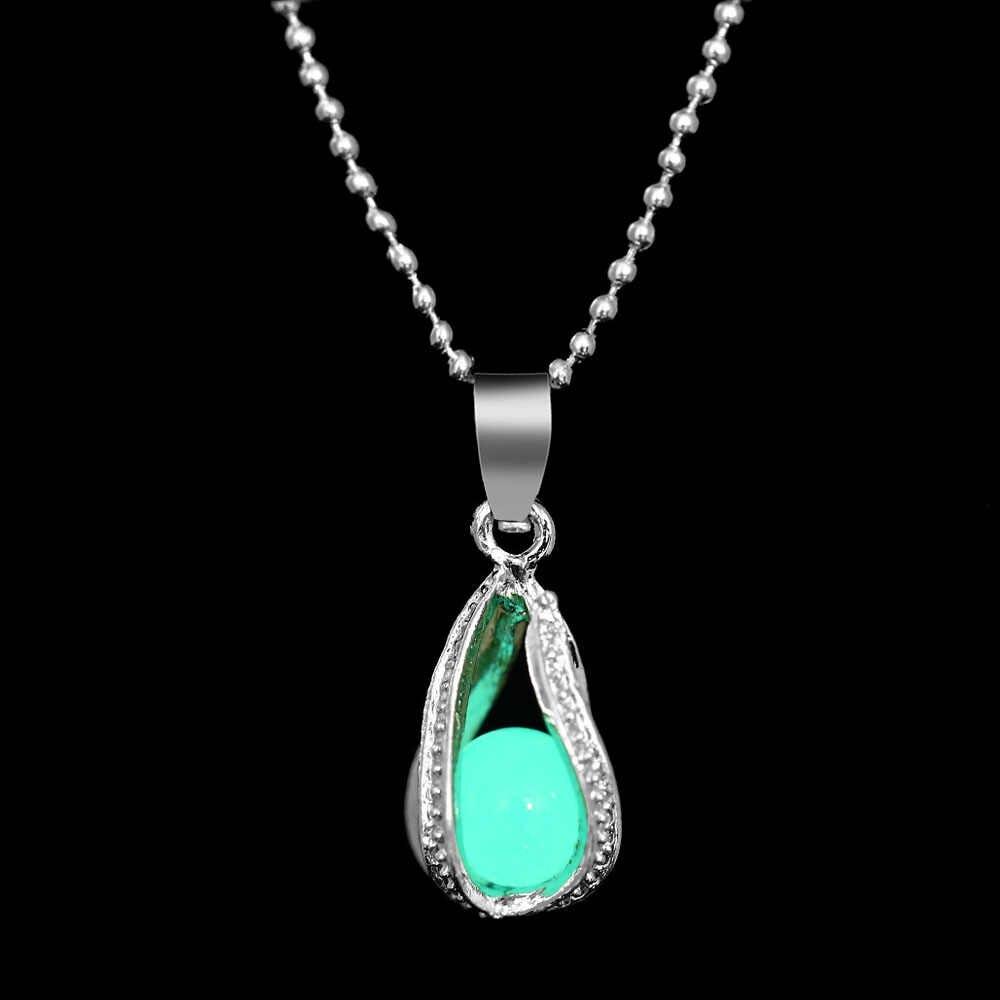 אופנה ספירלת מים טיפות זוהר אבן תליון שרשרת 3 צבעים שרשרות זוהר שרשרת שרשרת תכשיטי מתנה