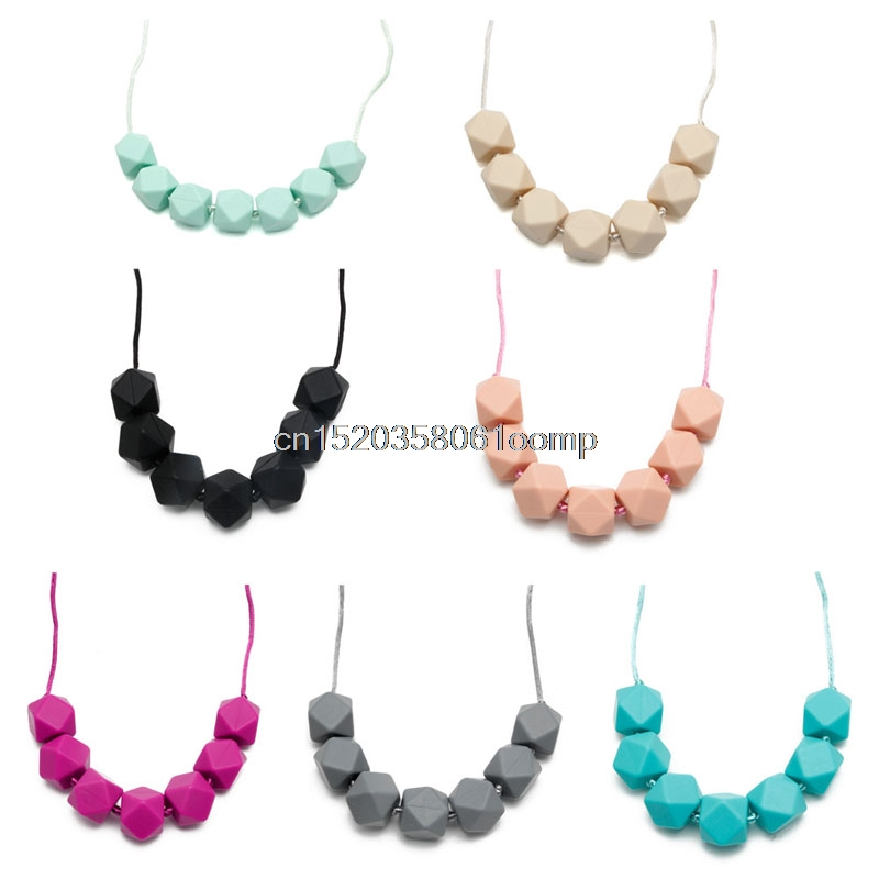 1PC Cute Baby Silicone Teether Chain Charm Polygon Beads Necklace Teething Toy #K4UE# Drop Ship