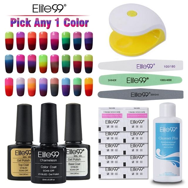 Elite99 Pick Any 1 Color Nail Polish Color-Changing Gel Polish with 2W Mini LED Lamp Nail Cleanser Plus Nail Files Remover Wraps