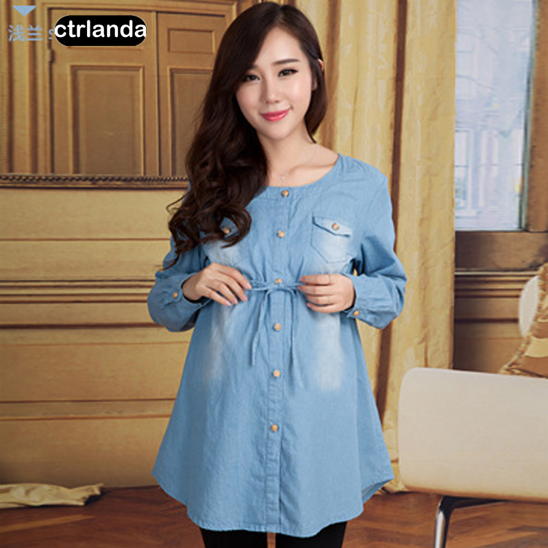 maternity shirts big size cotton pregnant women loose jeans shirt maternity clothes wear para-mama casual denim blouse dress