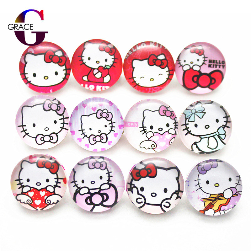 10pcs/lot Mixed Beautiful Pringting Cartoon Cat Charms 18mm Glass Hello Kitty Snap Buttons For DIY Bracelet&Bangle Snaps Jewelry image