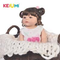 KEIUMI Lifelike 22 Inch 55 cm Reborn Baby Full Body Silicone Real Like Newborn Princess Baby Dolls For Kids Playmate Xmas Gifts