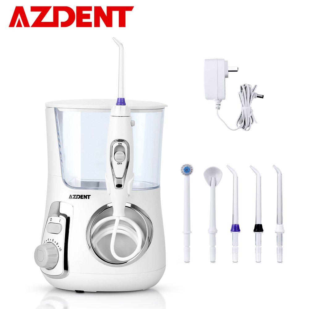 AZDENT 800ml Electric Oral Irrigator Water Dental Flosser With 5 Jet Tips Dental Oral Hygiene 10 Pressures Teeth Cleaner Floss